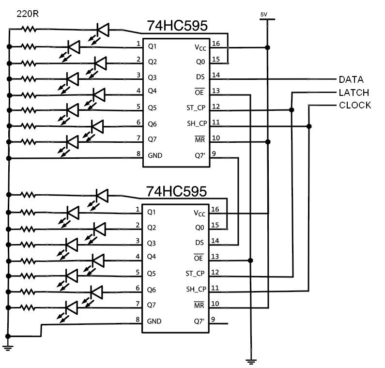 more arduino outputs  using shift registers