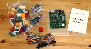 Board, buttons, joysticks and a wiring loom